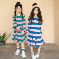 New Autumn 2018 Baby Dress Girls Stripe Dress Kids Cotton Dress Toddler Long Sleeve Ruffles Dress Children Causal Dress,#3467