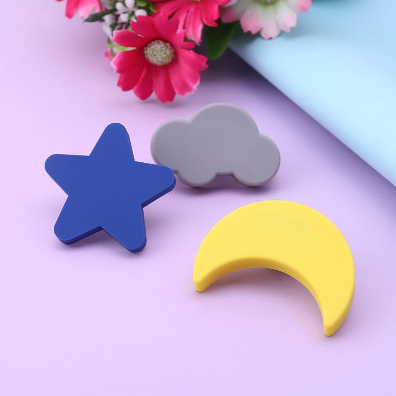 Children Anti-collision Handle Creative Door Wardrobe Drawer Furniture Handles Cartoon Star Moon Cloud Shape
