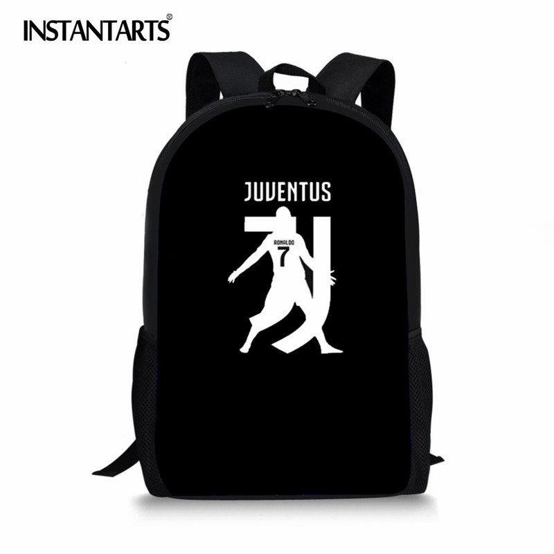 INSTANTARTS 2018 Cristiano Ronaldo Printed Men's Backpack for Juventus Fans Gift Travel Laptop Bagpack Boys Children School Bag instantarts cute children pug dog backpack men felt travel backpacks for teenege boys 3d animal printed student school bagpack