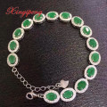 925 sterling silver with 100% natural emerald bracelet  women with Luxury and generous A wedding gift