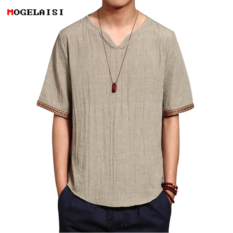 Linen Men Shirts Chinese Culture Men's Shirt Slim Short Sleeve Brand 2018 Summer Men Shirts Breathable Asian Plus size 5XL 1601