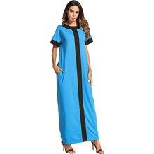 2020 Summer Women Dress Oversized Color Block Short Sleeve Plus Size Muslim Abaya Turkish Kaftan Dubai Casual Robe VKDR1162