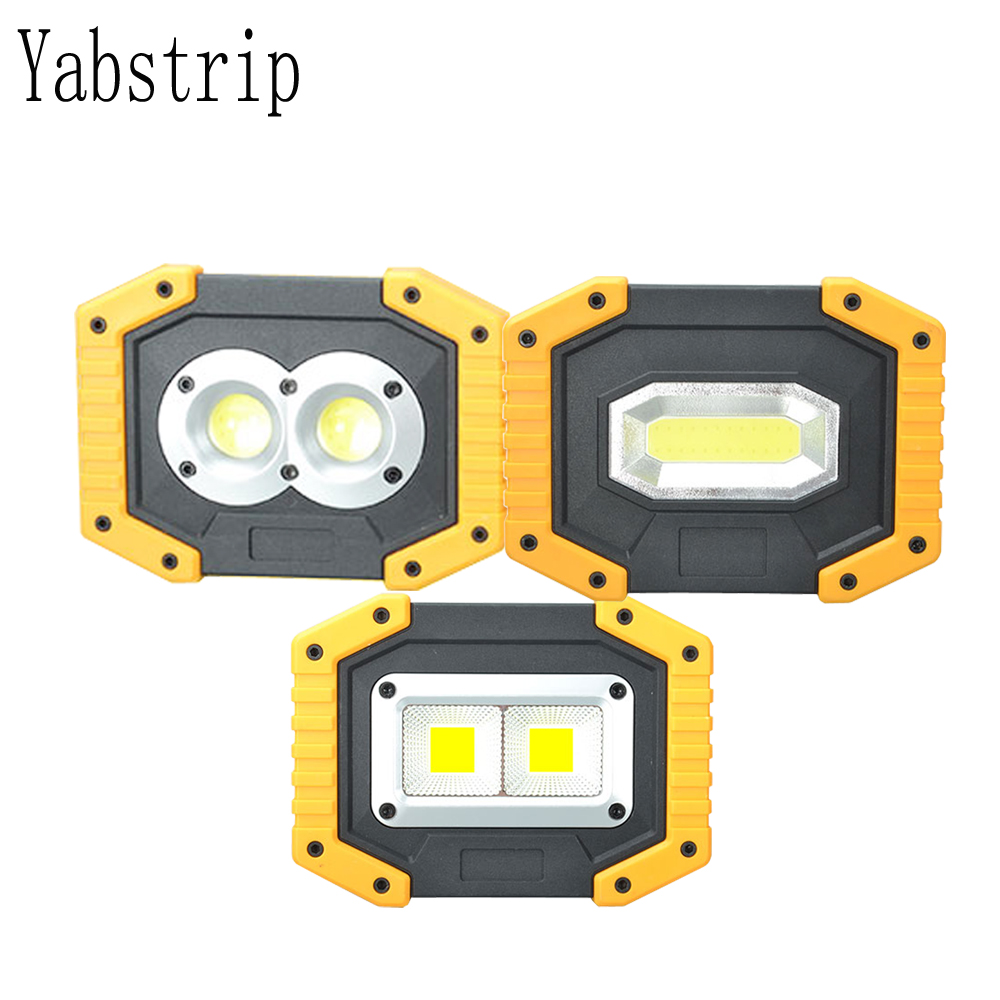Yabstrip Led Portable Spotlight Work Light Lamp COB USB Rechargeable Flashlight 2*18650 For Hunting Camping Led Latern