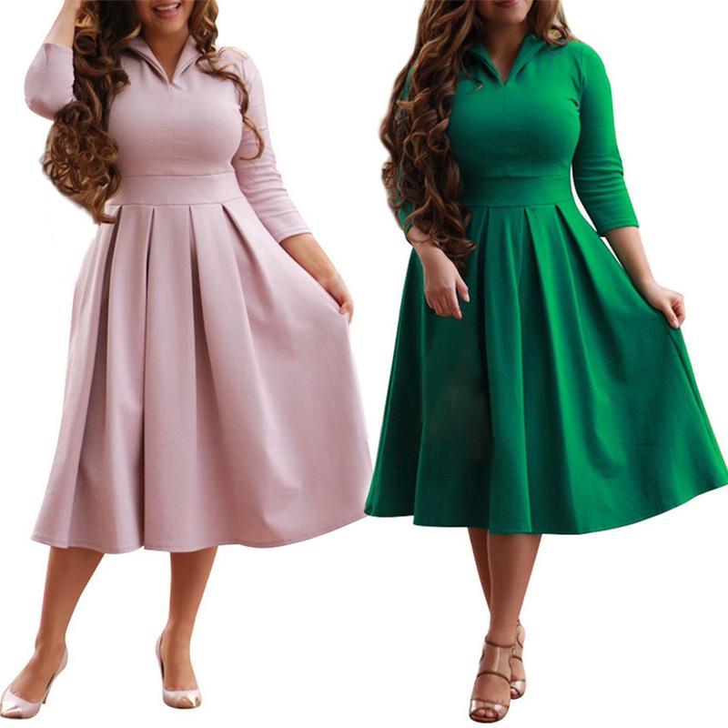 XL Robe 2018 Autumn Winter Dress Big Size Elegant Long Sleeve Dress Women  Office Work Dresses Plus Size Women Clothing