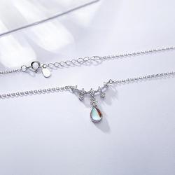 Мода Аврора хрустальный кулон из драгоценного камня Цепочки и ожерелья лунный камень 925 пробы Серебряная цепочка Цепочки и ожерелья для