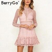 BerryGo Elegant hollow pink party dresses Sweet ruffle autumn winter dress women Sexy high waist long sleeve ladies lace dress