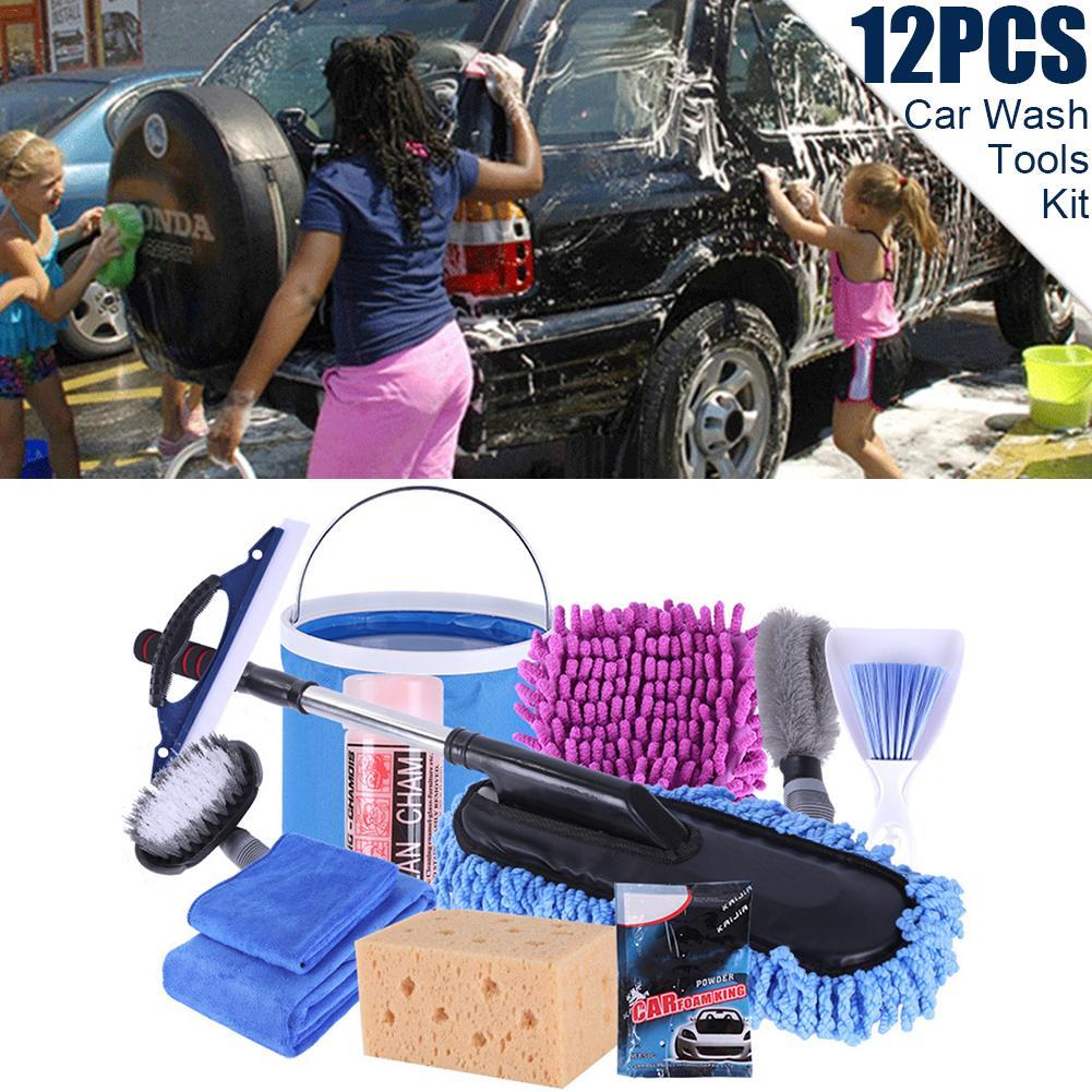 2019 nouvelle voiture nettoyage lavage outils Kit 12 PCsTowel Mops dépoussiérage brosse voiture nettoyage fournitures livraison directe