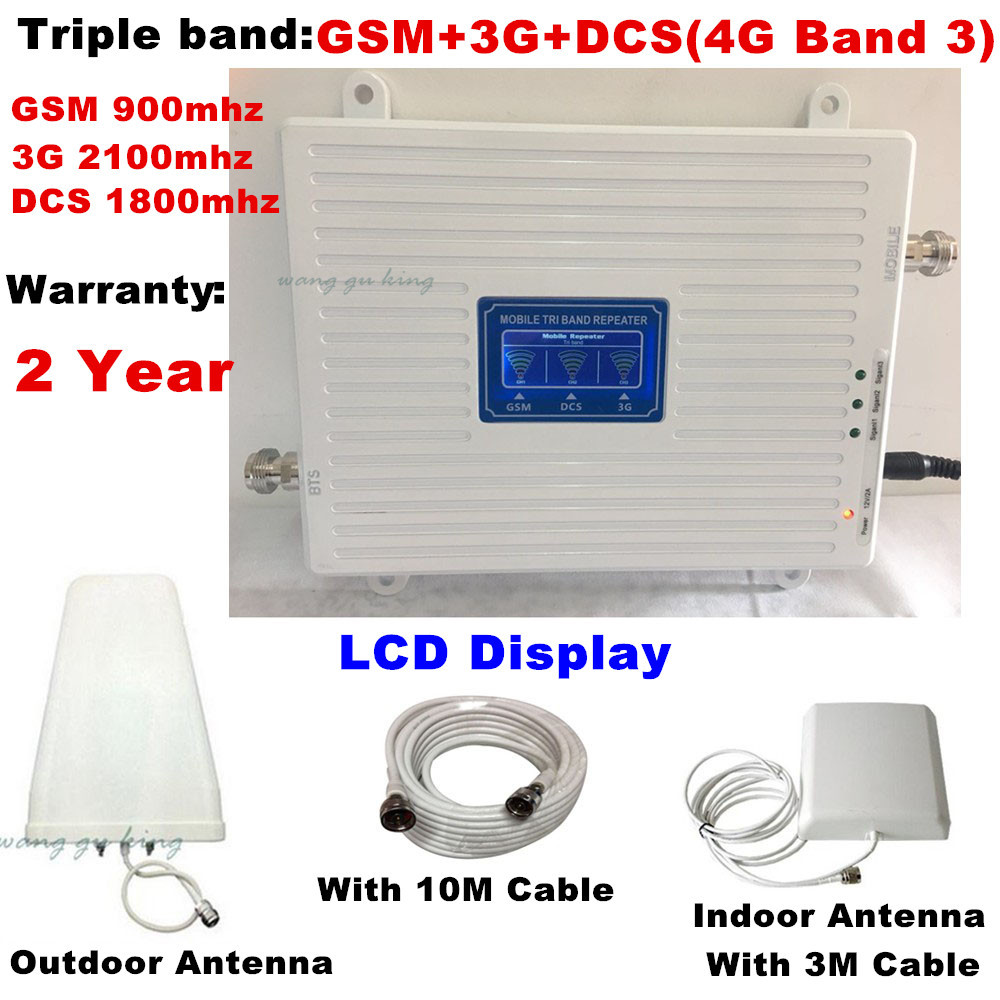 Set completo 70dB 2G 3G 4G Tri Band Mobile Del Segnale Del Ripetitore GSM 900 DCS LTE 1800 WCDMA 2100 MHz Cell Phone Signal Repeater Amplifier