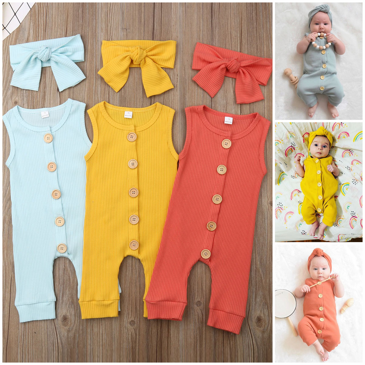 HTB1fc.TOVzqK1RjSZFoq6zfcXXaD 2019 Summer Solid Rompers Newborn Infant Baby Girl Boy Outfit Cotton Romper Jumpsuit Bebe Kids Ropa Sleevless Casual Clothes Set