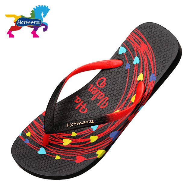 Hotmarzz Women Flip Flops Summer Slippers Black 2017 Ladies Sandals Beach Shoes Heart Valentines Woman House Shoes Pool Slippers