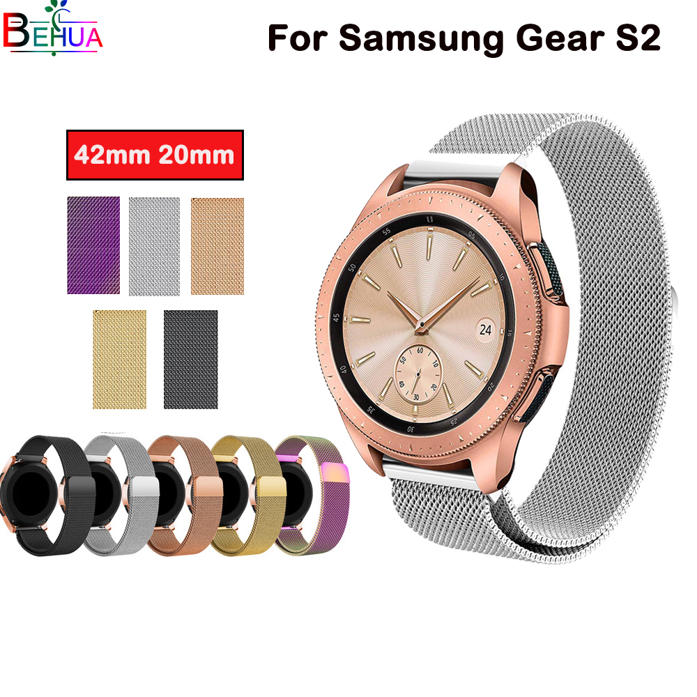 42mm <font><b>20mm</b></font> Milanese <font><b>Magnetic</b></font> Loop <font><b>watchband</b></font> For Samsung Gear sport S2 For Huami Youth Edition For Huawei Watche 2 generation image