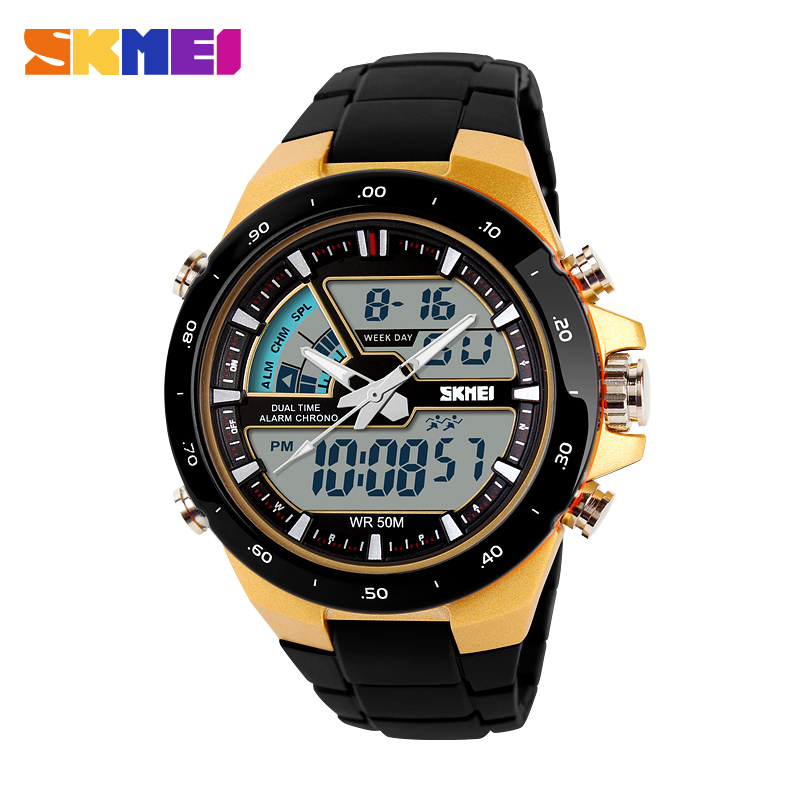 SKMEI Sports Watches Men Digital Double Time display Chronograph Waterproof Alarm Calendar Back Light Quartz Wristwatch 1016