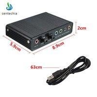 Professional Black USB Optical fiber Sound Card 5.1 7.1 Sound Track Full duplex audio playback recording PC silent card