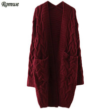 ROMWE Ladies Cable Knit Front Pocket Long Sweater Coat Women Autumn Winter Casual Long Sleeve Open Front Cardigan