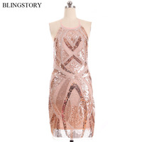 BLINGSTORY Sexy Luxurious Beads Spaghetti Off Shoulder Women 1920s Diamond Sequined Party Summer Dress Ukraine KR2009 2