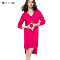 Spring and autumn Dresses for Women European Style Women Fall Dresses Wool Knitted Long Sleeve High Slit Ribbed Loose Dress