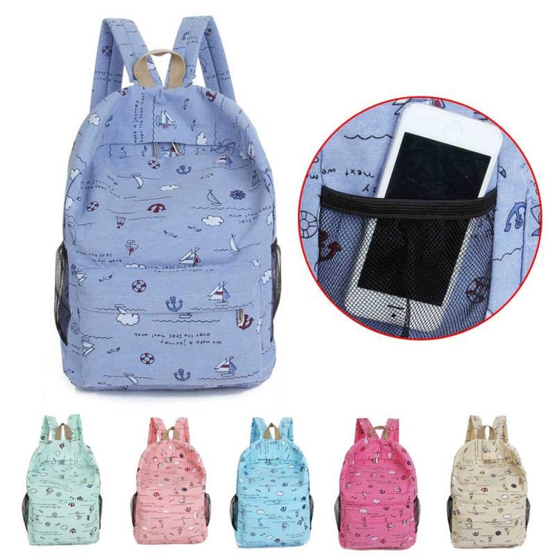 Cartoon Printing Women Canvas Backpack Schoolbag Backpack Travel Backpacks Shoulder Casual Daypack Cute Rubb Rucksack Satchel-12