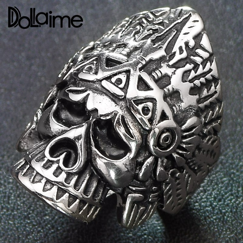 Dolaime Banquet New Arrival Tribal Men Stainless Steel Silver Color Skull with indigenous headdress Ring <font><b>R308</b></font> image