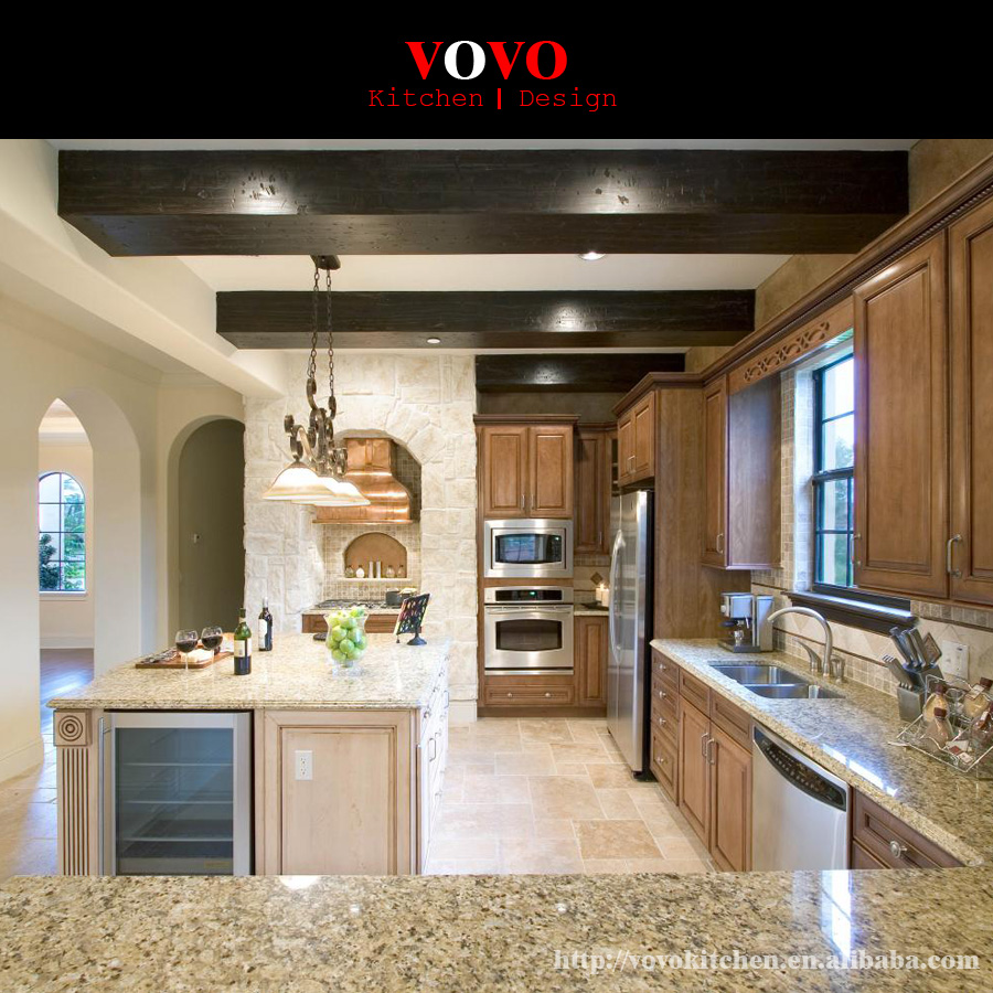 Wood Veneer Kitchen Cabinets Made In China-in Kitchen