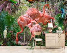 beibehang Stylish modern minimalist hand-drawn wallpaper tropical plant flamingo TV background wallpapers for living room behang