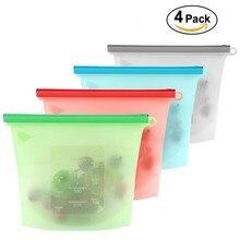 4 stk/set Herbruikbare Vacuüm Silicone Voedsel Zak Vacuumsealer Keuken Fruit Vlees Verse Opbergtas Wraps Koelkast Voedsel Opslag Container