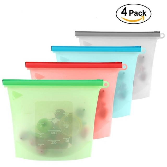 4 יחידות\סט אבק לשימוש חוזר סיליקון מזון שקית ואקום אוטם מטבח פירות בשר טרי אחסון תיק כורכת מקרר מזון אחסון מיכל