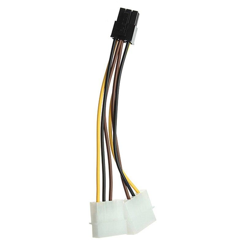 14.5 см двойной 4PIN IDE Разъем для 6pin мужчин и женщин Адаптеры питания pci-e Экспресс ATX кабель для видео карты