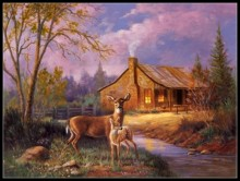 Needlework for embroidery DIY French DMC High Quality – Counted Cross Stitch Kits 14 ct Oil painting – Deer Near Cabin
