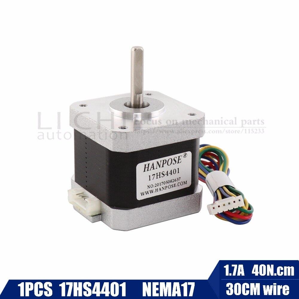 Envío gratis 1 unids 4-plomo Nema17 Motor paso a paso 42 motor Nema 17 1.7A (17HS4401) 3D impresora motor y CNC XYZ