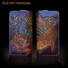 OLG YAT handmade font b men b font font b wallets b font women purse retro