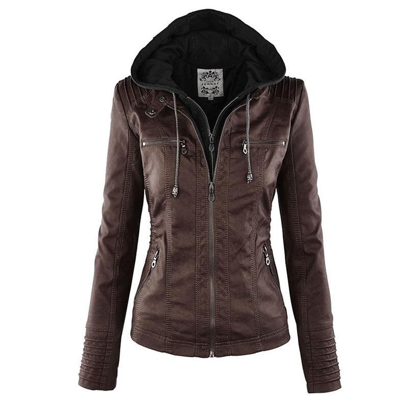 Faux Leather Jacket Women 2021 Basic Jacket Coat Female Winter Motorcycle Jacket Faux Leather Suede PU Zipper Hoodies Outerwear