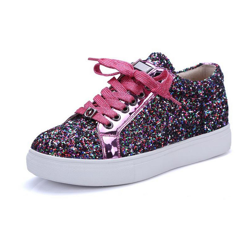 New Women Glitter Casual Shoes Woman Flats 2017 Summer Fashion Bling Red Silver Round Toe Lace Up Lady Female Comfortable Shoes gold sliver shoes woman for 2016 new spring glitter bling pointed toe flats women shoes for summer size plus 35 40 xwd1841