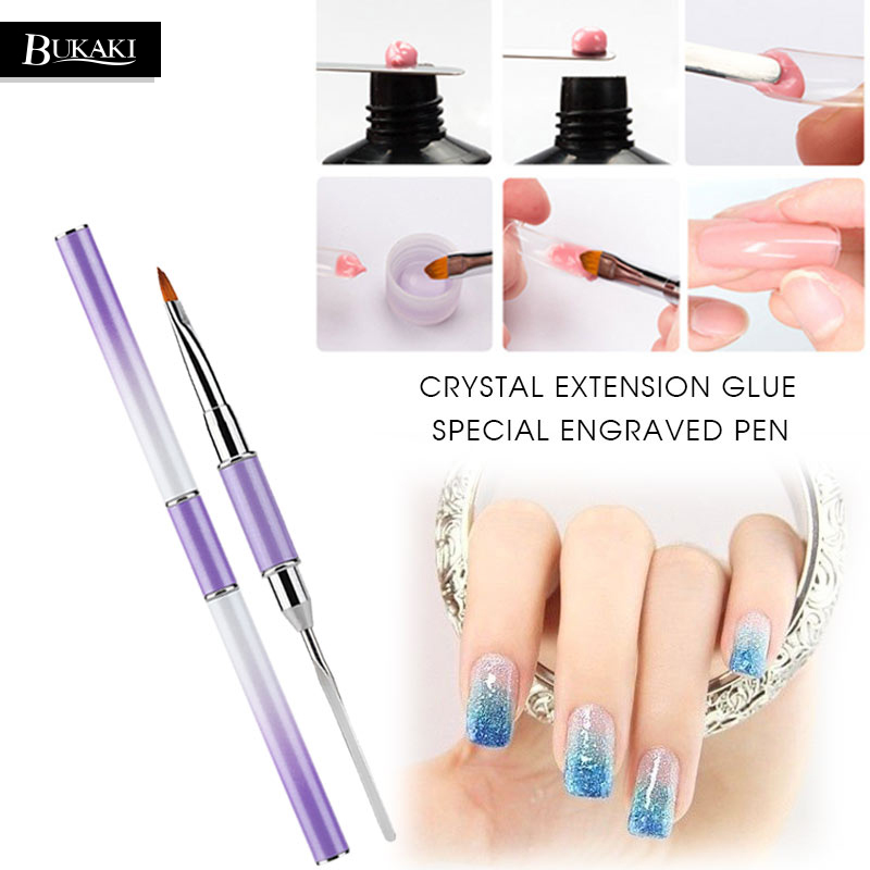 BUKAKI Poly Gel Nail Brush Dual-ended Slice Nail Form for Hard Jelly Builder Gel Polygel Fast Nail Extended Manicure Tools