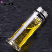 CAKEHOUD 300ml Commercial Double High Temperature Borosilicate Glass Teapot DIY Sports Bottle Stainless Steel Filter Thermos