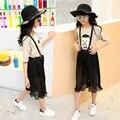 Девушки шифон чулок шорты одежда наборы лето 2016 дети устанавливает одежду характер топы футболки черный шорты наряды для девочек