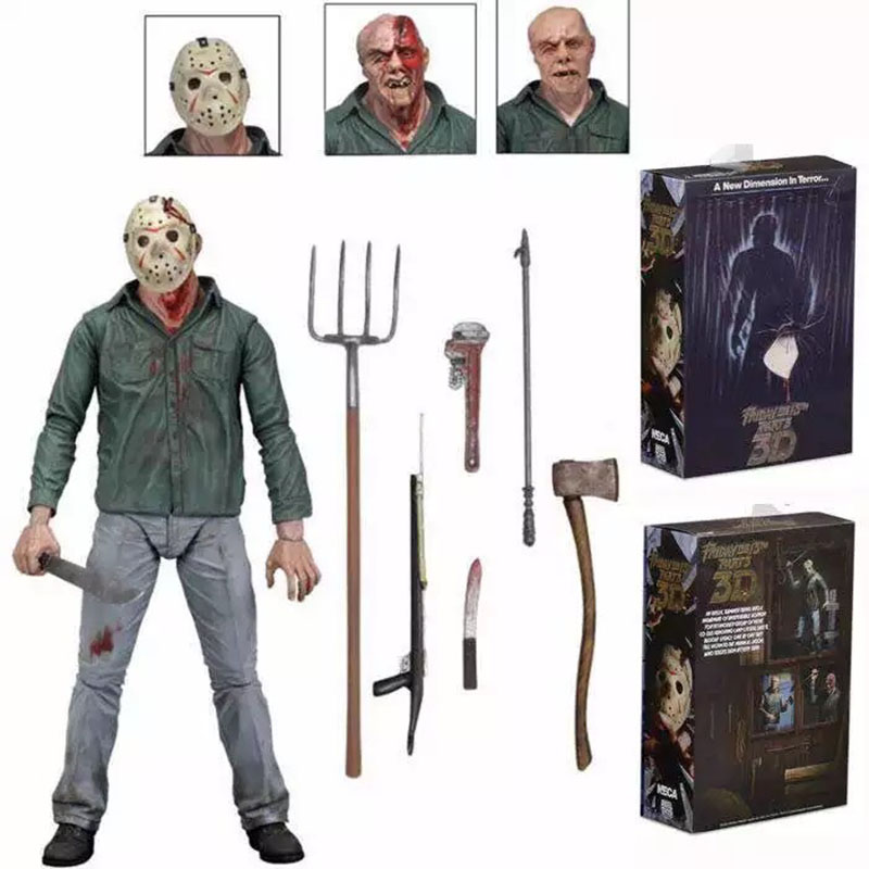 NECA 3D Friday The 13th Part 3 The Final Chapter Jason Voorhees PVC Action Figure Model Doll 18cm (8)