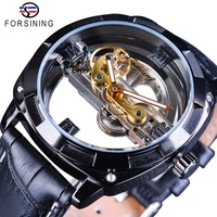 Forsining Official Exclusive Sale Double Side Transparent Military Mens Steampunk Leather Top Brand Luxury Automatic Sport Watch