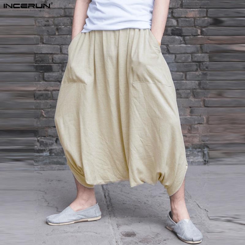 INCERUN New Summer Autumn 5XL 2018 Men Pant Big Crotch Trousers Lantern Pants Loose Baggy Casual Hip Hop Harem Pants Sweatpants