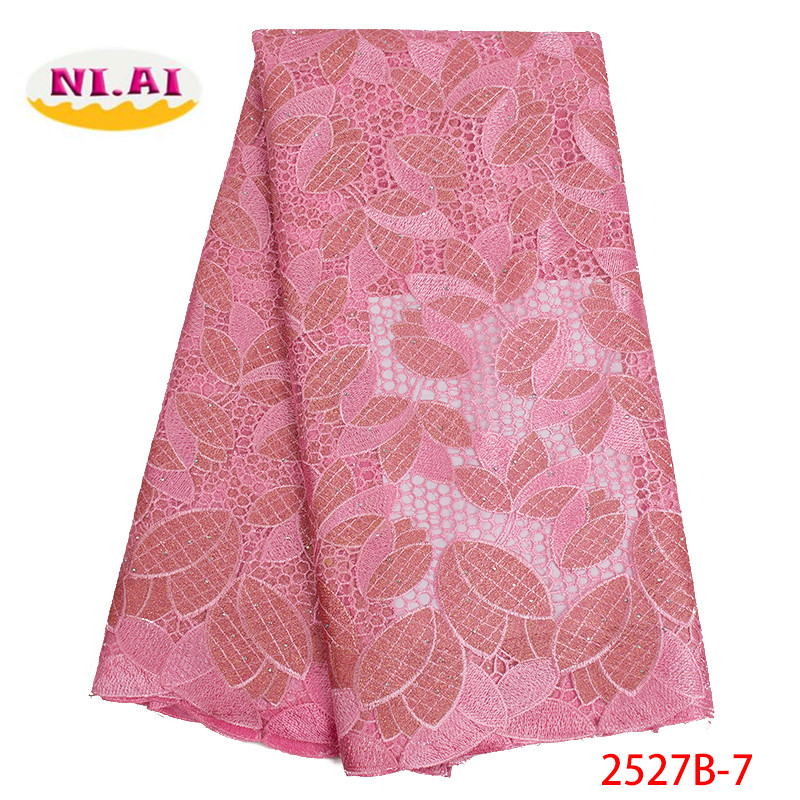 Pink Nigerian Lace Fabrics 2019 High Quality African Lace Fabric Wedding French Tulle Lace With Stones