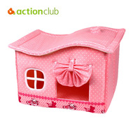 Actionclub Pet Dog House Pink Princess Beds With Mats Pets Puppy Sweet Bow Tie Kennel Warm