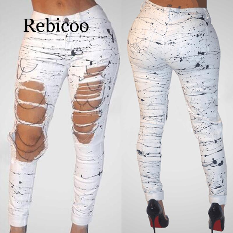 Rebicoo Ripped Jeans for Women 2019 New Mid waist Hole Chain Jeans Paint Pants Skinny Destroyed Pants Hole Trousers Stretch Jean in Jeans from Women 39 s Clothing