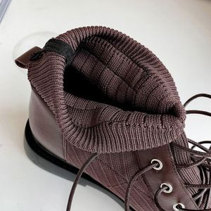Image 5 - ALLBITEFO genuine leather+knitting low heeled women boots comfortable ankle boots for women autumn girls shoes women heels
