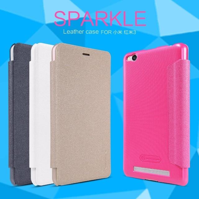 Funda de cuero Original NILLKIN Sparkle Flip con ventana de vista inteligente funda trasera para teléfono Xiaomi Redmi 3 Hongmi 3 5 pulgadas Funda