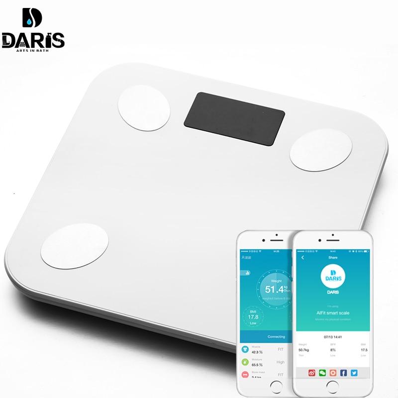 Escala de Gordura Corporal SDARISB Chão Científica Inteligente LED Eletrônico Digital Peso Balança De Banheiro Bluetooth APP Android ou IOS