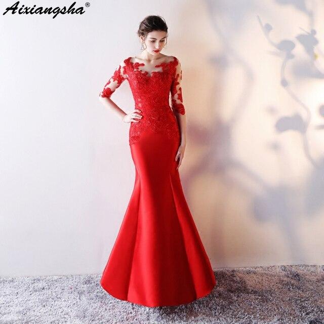 0e4650614 Sexy Red Lace Mermaid Prom Dresses 2018 Long Dress Scoop Plus Size vestido  de festa longo gala jurken vestido longo gala dress