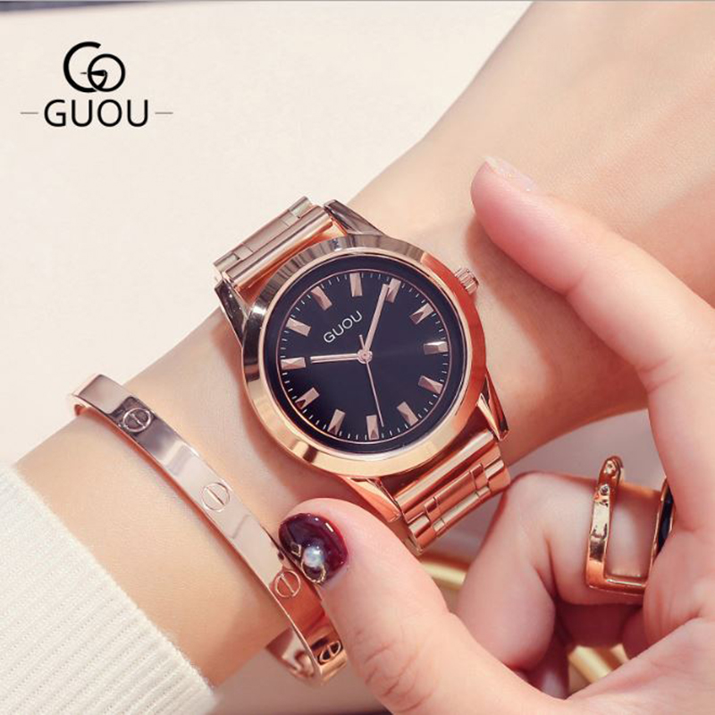 все цены на GUOU 2018 NEW Relogio Mujer Luxury Ladies Watch Women's Watches Rose Gold Stainless Steel Watch Clock Women relogio feminino