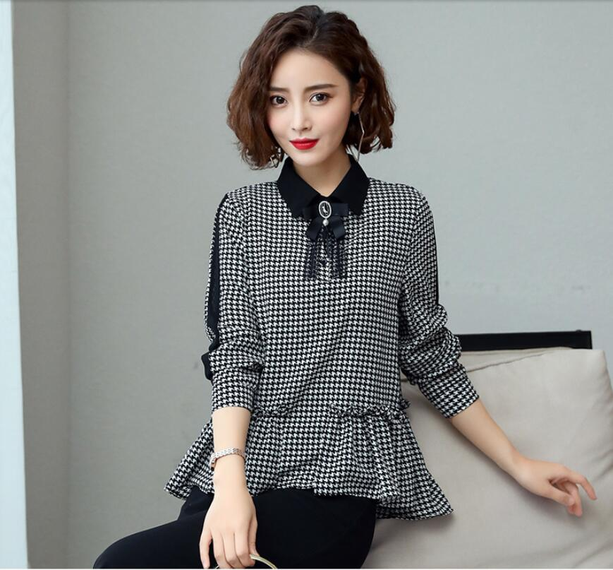 Blouses & Shirts #2990 2019 Spring Temperament Three Quarter Sleeve Shirt Women Doll Collar Tops Ruffle Blouse Female Asymetrical Hem Novelties