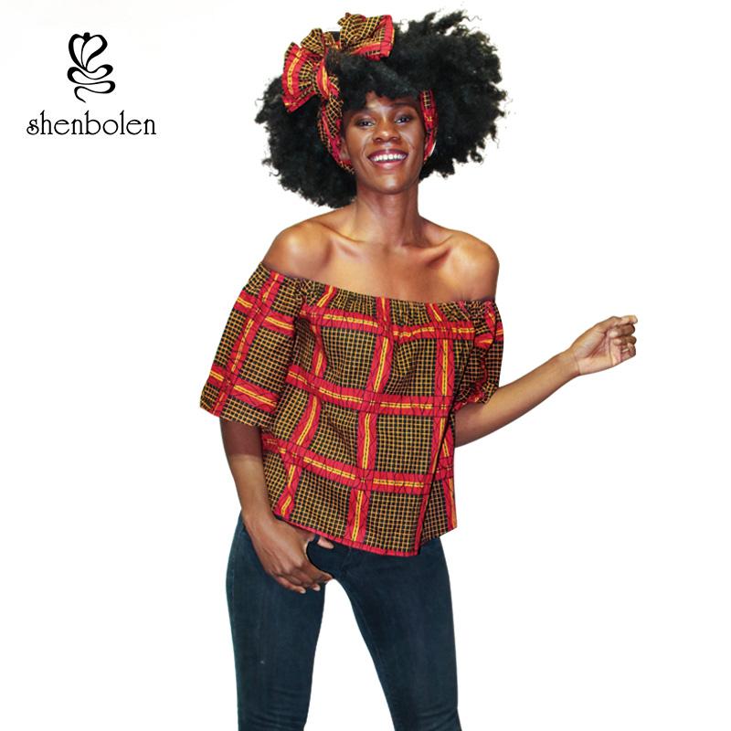 3fdcca6f4638f Shenbolen African Off Shoulder Wax Fabric Ankara Print Top 2018 Short  Sleeve Shirt Casual Blouse with Match Color Headwrap