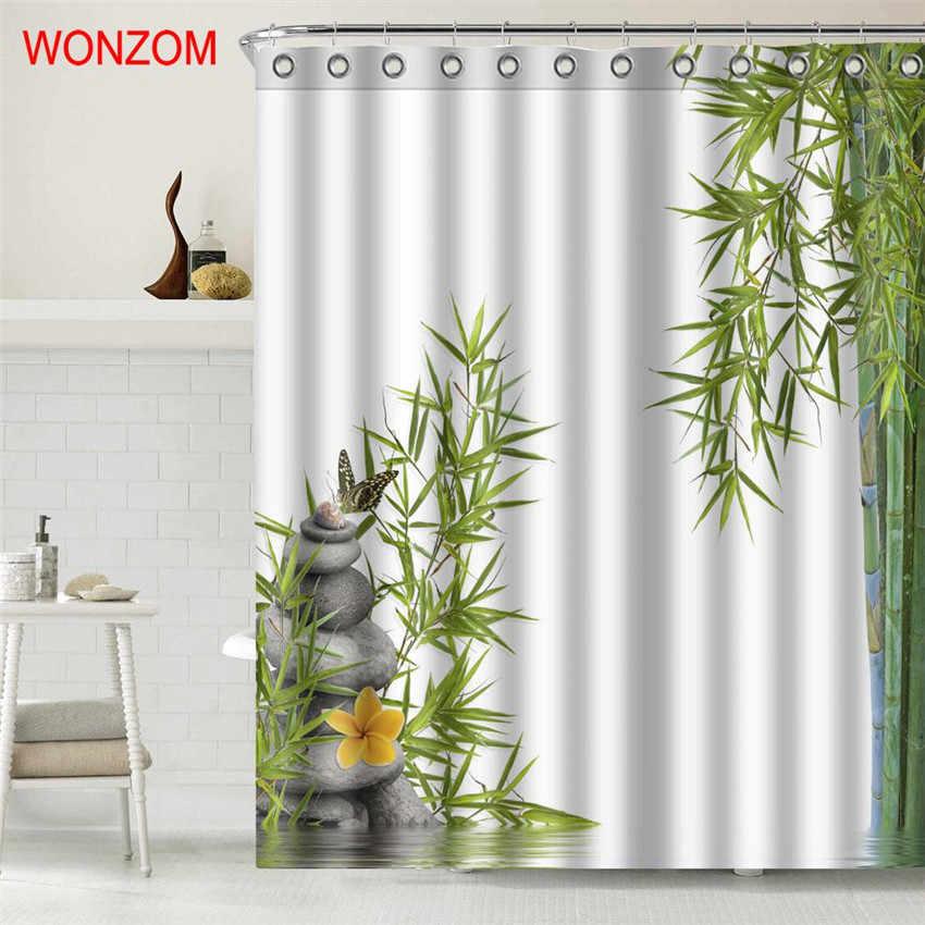 WONZOM krajobraz zasłony prysznicowe do wystroju łazienki nowoczesna bambusa i kamienia zwierząt zasłona wanny z 12 hakami odporna na pleśń prezent