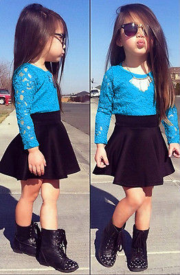 2016 Baby Girls Solid Blue Lace Floral Long Sleeve Tops T-shirt+Black Skirt Dress Casual Outfits Set 2-11Y girls baby long sleeve tops t shirt bib cartoon minnie 2pcs outfits set 1 5y